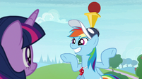 Rainbow balances ball and cone on her head S9E15