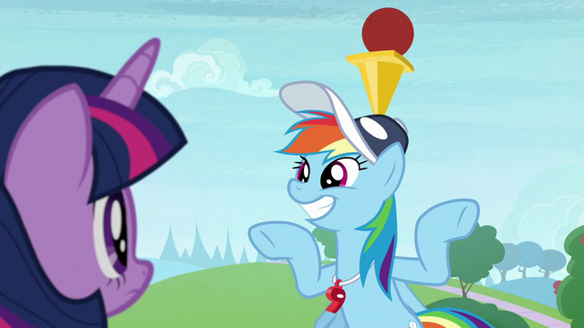 File:Rainbow balances ball and cone on her head S9E15.png