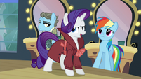 "Rarity ""by a girl pony with a raspy voice!"" S5E15"