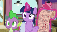 Twilight and Spike hear Bulk Biceps S9E16