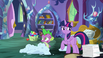 Twilight and Spike surrounded by burn marks S8E11