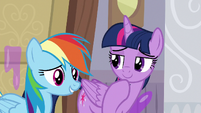 Twilight considering Rainbow Dash's words S8E16