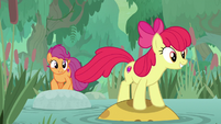 Apple Bloom jumping across a pond S9E22