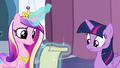 Cadance reads the spell written on the paper S6E2.png