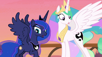Celestia and Luna look at their cutie marks S7E10