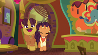 Coriander and Saffron welcoming ponies to The Tasty Treat S6E12