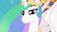 Princess Celestia looking intently at Sunset EGFF
