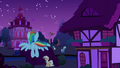 Rainbow flying toward Ponyville town hall S6E15.png