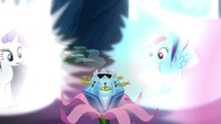 Rarity and Rainbow looking at the chest S4E26