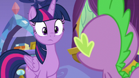 Spike turns to face Twilight Sparkle S8E11