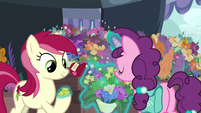 Sugar Belle giving bits to Rose for flowers S9E23