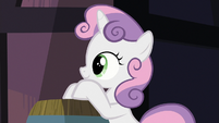 Sweetie Belle watching Fluttershy and Pinkie S8E12