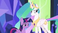 Twilight sad; Celestia glares at Spike S7E1
