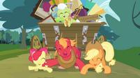 Apple Bloom, Big McIntosh and Applejack dancing S4E09