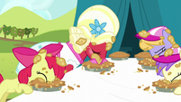 Apple Bloom and Orchard Blossom eating pies S5E17