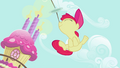 Apple Bloom jumping with the plates on her nose S2E06.png