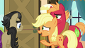Applejack gesturing houseguests out the door S6E23.png