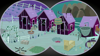 Binocular view of the farm sheds S9E10
