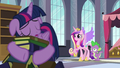 Cadance and Spike worried about Twilight S5E10.png