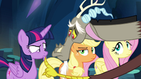 Discord lowers Twilight's lip into a pout S4E25