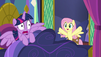 Fluttershy bursts into Twilight Sparkle's bedroom S7E20