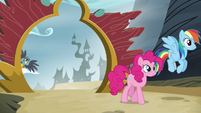 Gabby watches Pinkie and Rainbow leave Griffonstone S6E19
