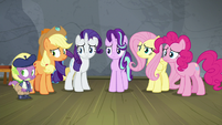 Main ponies and Spike watch Twilight pace S8E7