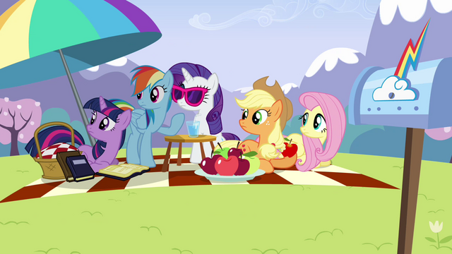 Файл:Main ponies looking at Pinkie offscreen S3E7.png