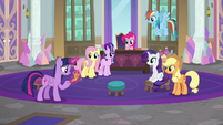 Mane Six and Starlight waiting for photographer S8E13