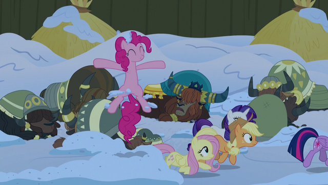 File:Pinkie Pie pops out of the snow near the yaks S7E11.png