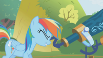 Rainbow Dash looks through telescope S1E05