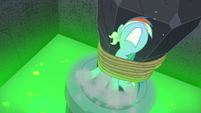 Rainbow Dash struggling against the ropes S7E18