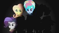 Rarity, Fluttershy, and Dash on darkened background EG2