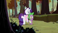 Rarity circles around Spike again S8E11