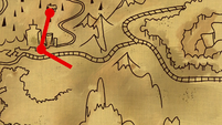 Red map path leads away from A. K. Yearling's house S7E18