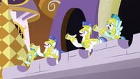 Royal guards about to sound the horns S9E2