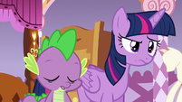 Spike nodding in agreement with Twilight S6E22