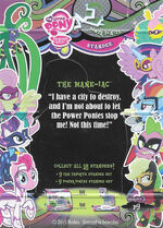 The Mane-iac series 3 trading card standee back