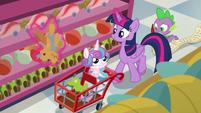 Twilight Sparkle picking up toys off the shelf S7E3