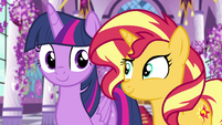 Twilight and Sunset amused by Princess Luna EGFF