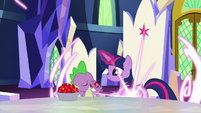 Twilight teleports in front of Spike S5E22