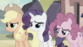 Applejack, Rarity, and Pinkie keeping silent S5E2.png