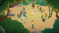 Applejack and Fluttershy surrounded by Kirin S8E23