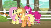 Applejack explaining to Fluttershy and Pinkie S6E18