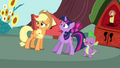 Applejack with Twilight and Spike S3E03.png