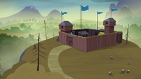 Distance view of the McColts' fortress S5E23