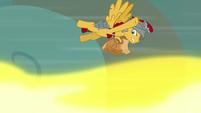 Flash Magnus dodging Torch's fire breath S7E16