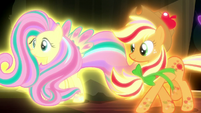 Fluttershy and Applejack in Rainbow Power forms S5E13