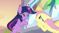 Fluttershy and Twilight talking while holding onto the machine S2E22