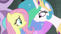 Fluttershy smiling reassured at Celestia S8E7